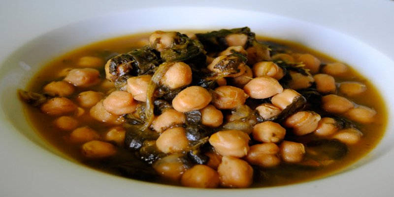 Chick-peas with cod and spinach