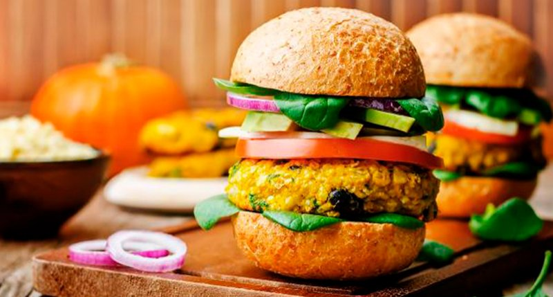 Pumpkin vegetarian burger