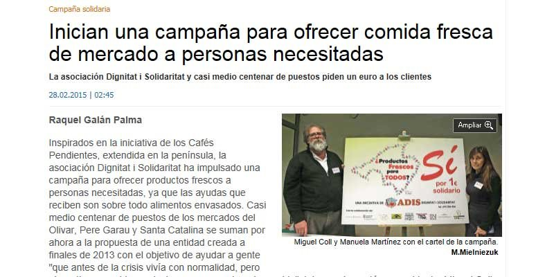 El Mercat de Santa Catalina inicia una campanya solidària